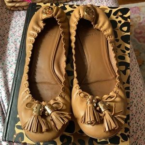 Tory Burch Leather Tassel Accents Ballet Flats